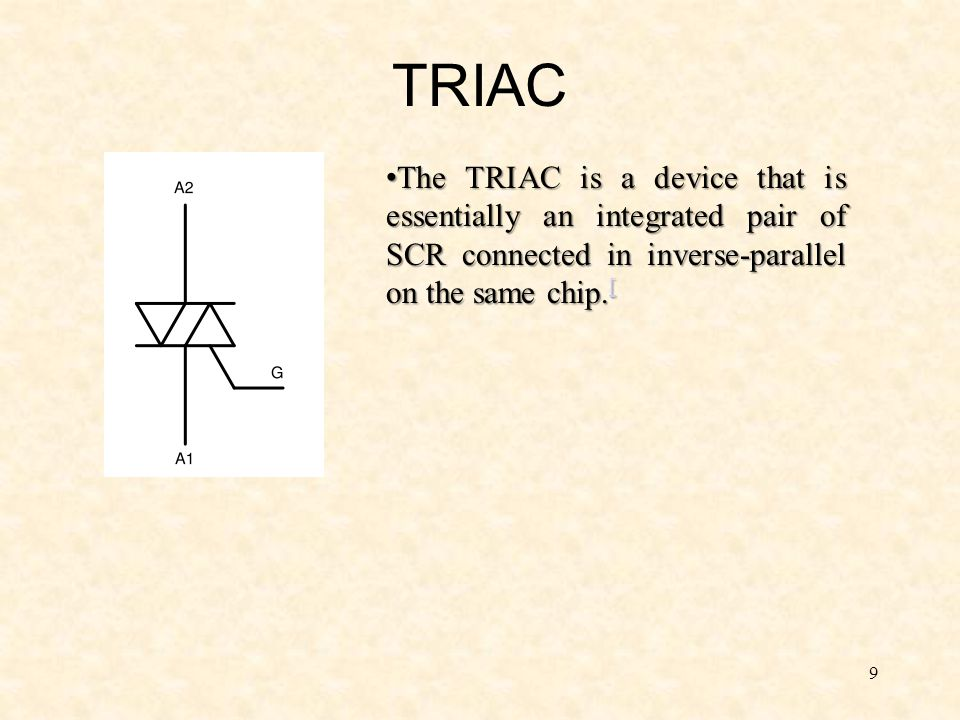 TRIAC The TRIAC is a device that is essentially an integrated pair of SCR connected in inverse-parallel on the same chip.[